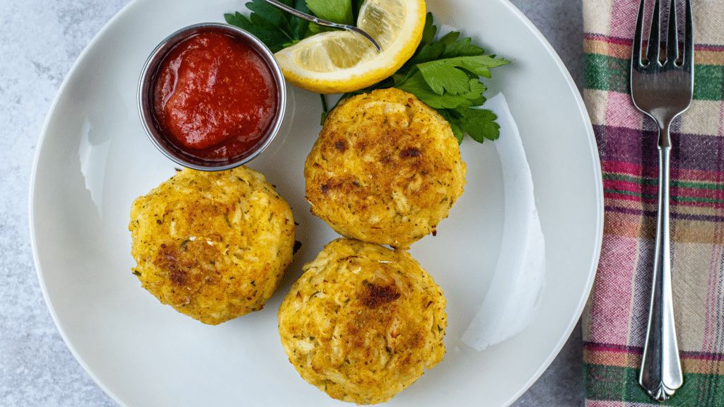 smoked Crab Cakes with homemade cocktail sauce