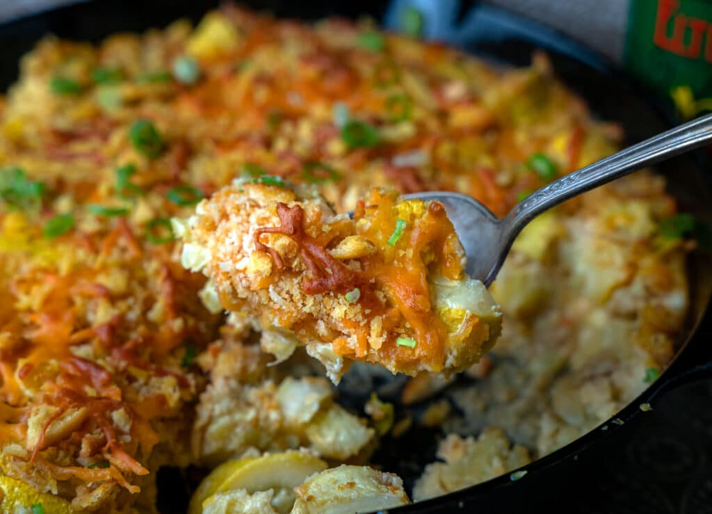 southern squash recipe in a cast iron skillet