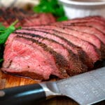 sliced smoked Tri Tip on a cutting board