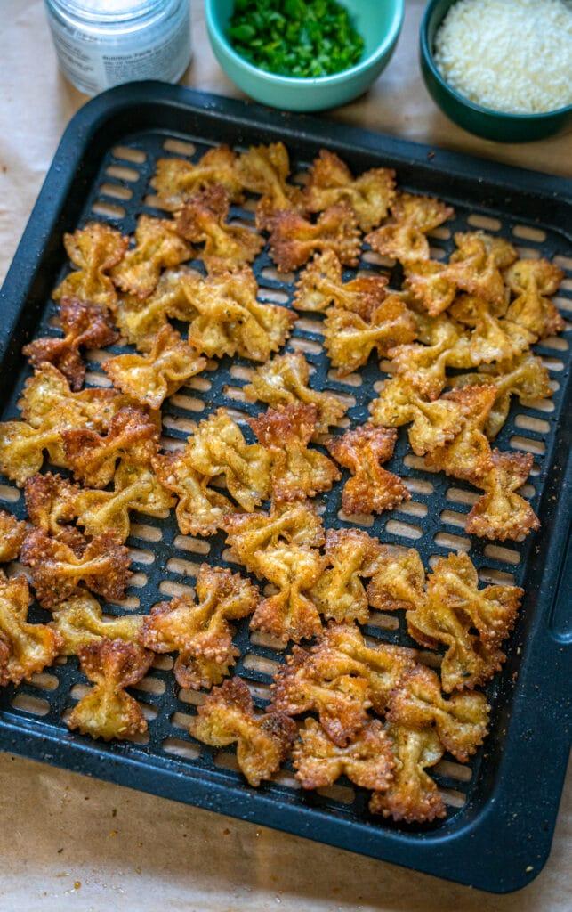 crispy farfalle on air fryer tray