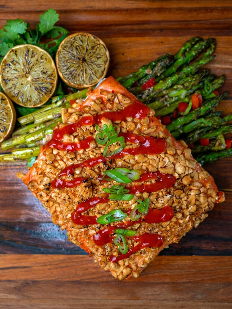 peanut crusted salmon with charred limes and asparagus
