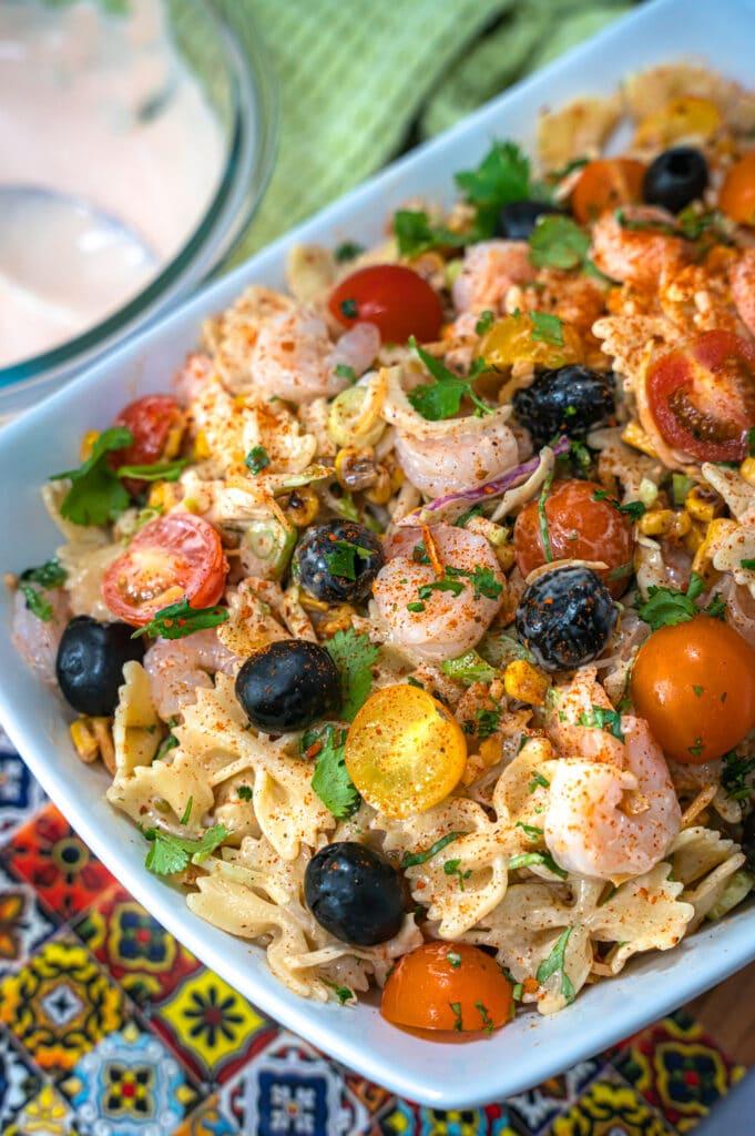 close up of the southwest pasta salad
