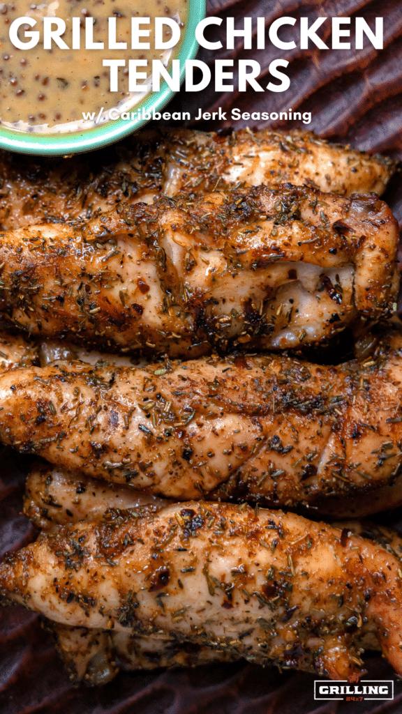 close up of jerk seasoning on grilled chicken tenders