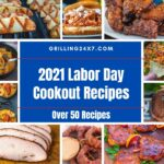 collection of my favorite Labor Day cookout recipes in a photo collage with brisket, dips, grilled fries and chicken