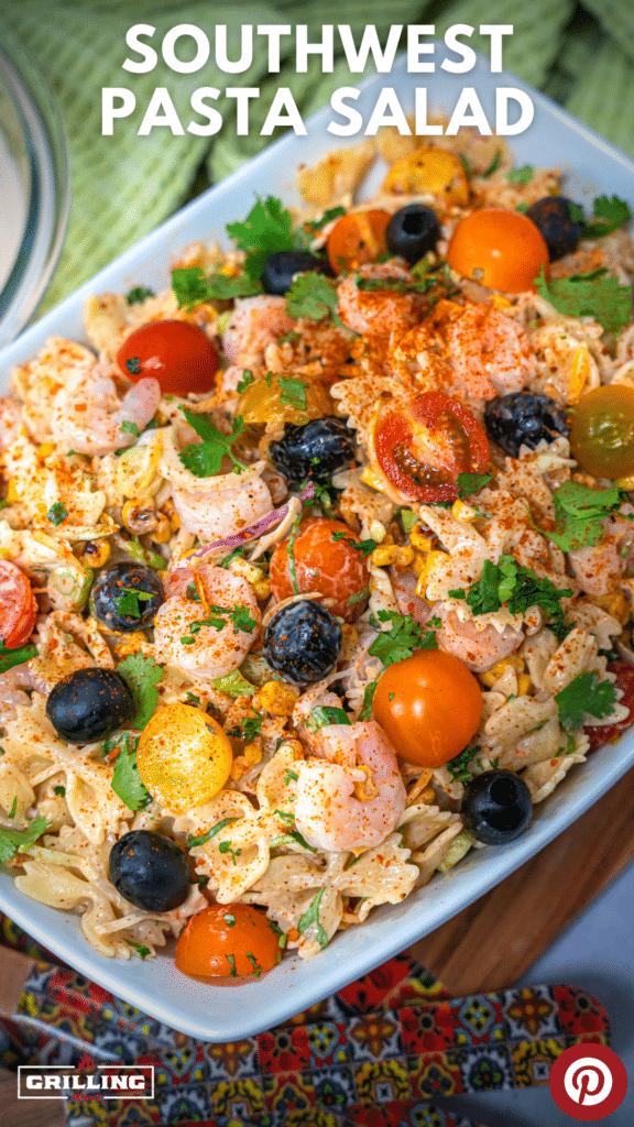 southwest pasta salad with shrimp, tomatoes and black olives