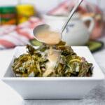 Collard greens with potlikker gravy and smoked turkey legs