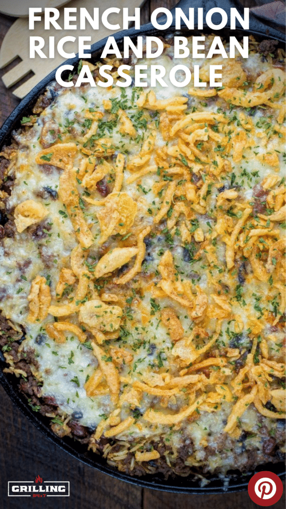French onion rice and beans casserole topped with cheese and crispy fried onions